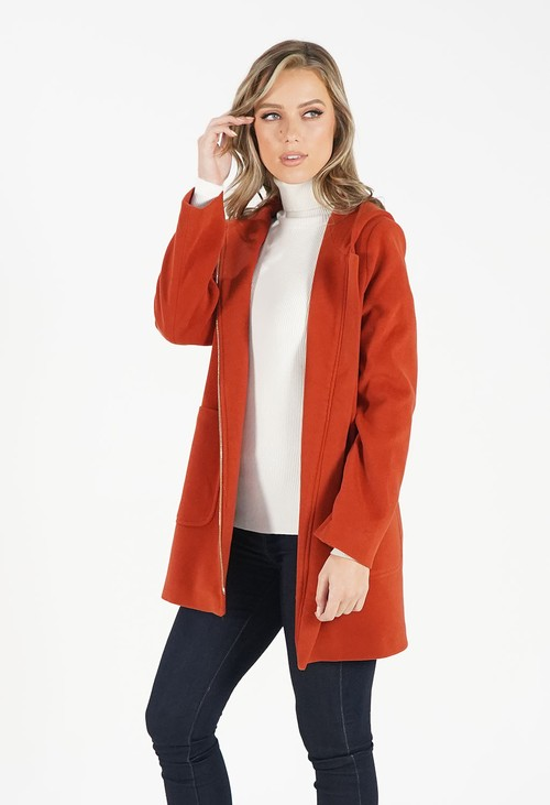 Sophie B Rust Hooded Wool Mix Coat