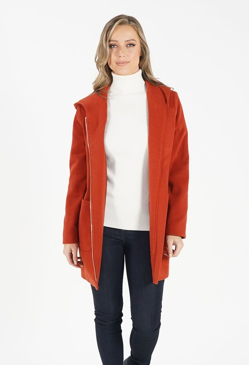 Sophie B Rust Hooded Wool Mix Coat