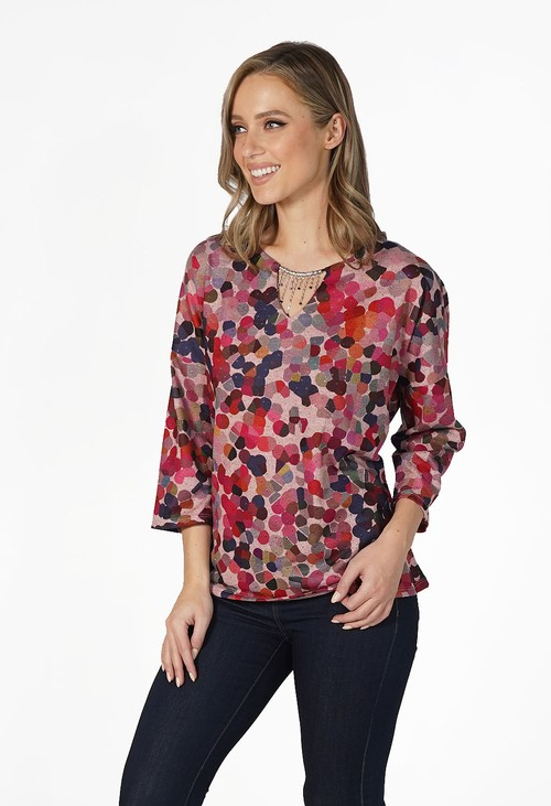 Sophie B Pink Soft Touch Pattern Top