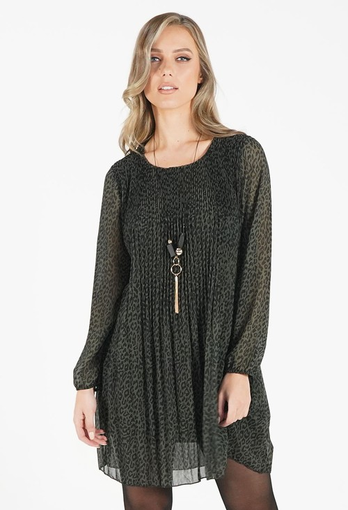 Pamela Scott Green Leopard Print Pleated Dress