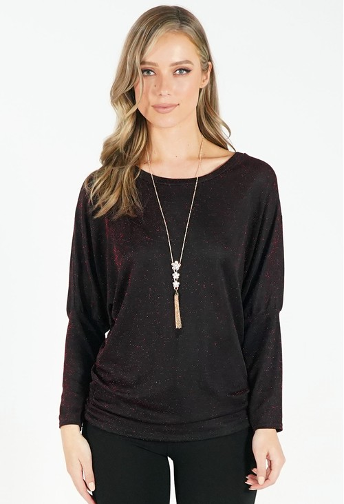 Pamela Scott Red and Black Metallic Top with Necklace