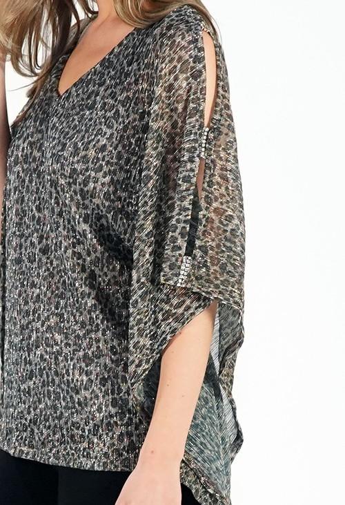 Pamela Scott Leopard Print Diamonte Detail Top