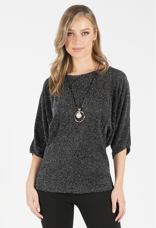 Pamela Scott Black Metallic Top with Necklace