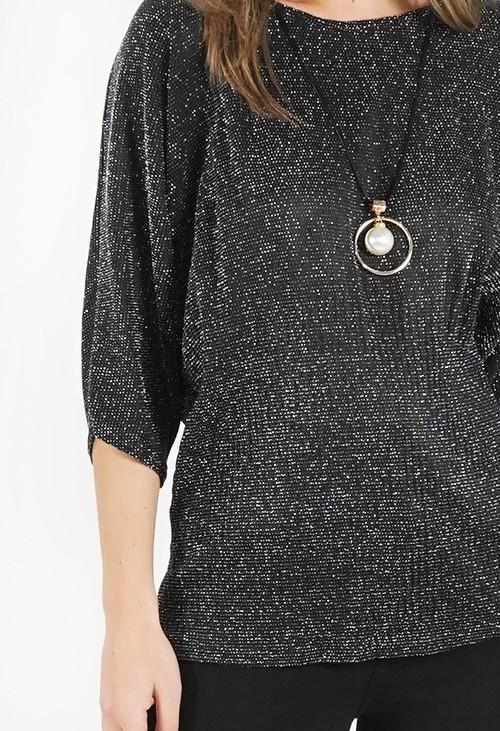 Pamela Scott Black Metallic Top with Necklace