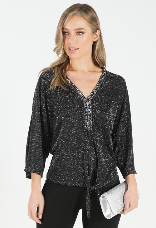 Pamela Scott Black Metallic Top with Embellished Neckline