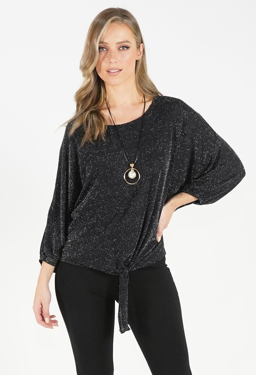 Pamela Scott Black Sparkle Tie Waist Top with Necklace