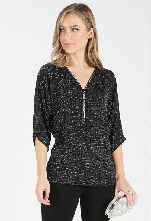 Pamela Scott Black Sparkle V Neck Top with Adjustable Zip