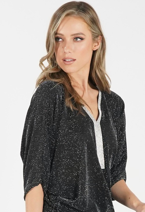 Pamela Scott Black Sparkly Top with Embelished Neckline