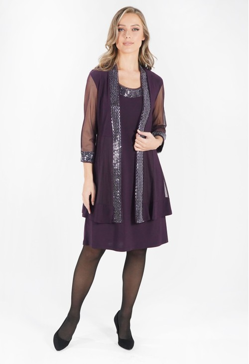 R and M Richard Plum Dress and Jacket Set with Embellishment