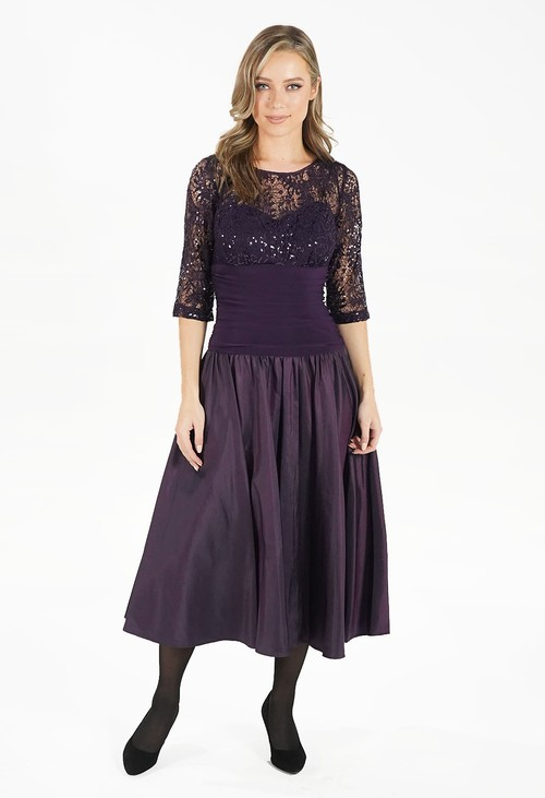 R and M Richard Plum Drop Waist Dress with Lace Top