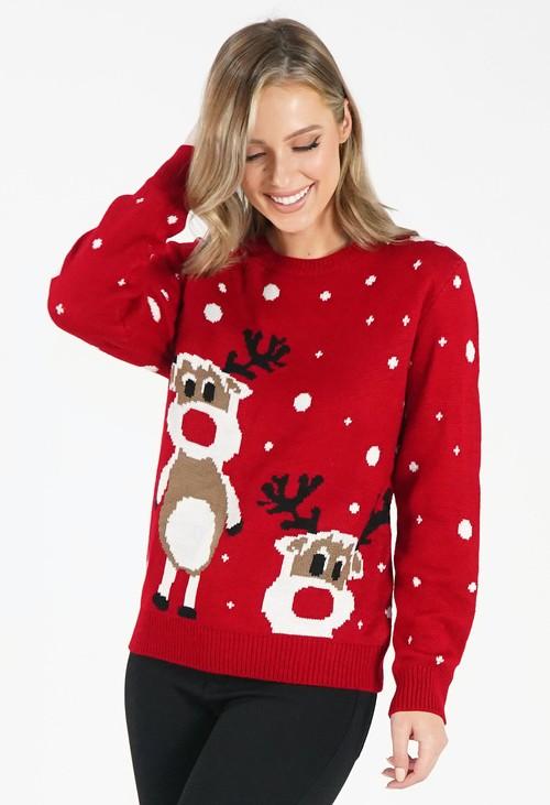 Pamela Scott Red Reindeer Christmas Jumper