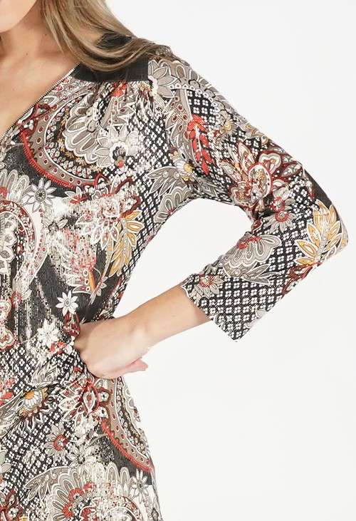 Sophie B Floral Print Top with Gold Metalic Detail
