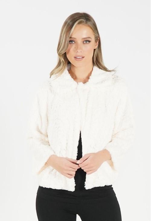 Pamela Scott Cream Soft Faux Fur Jacket