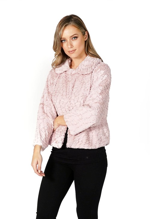 Pamela Scott Pink Soft Faux Fur Jacket