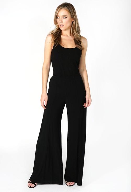 Pamela Scott Black Wide Leg Stretch Trouser