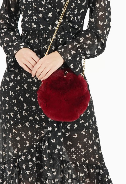 Pamela Scott Burgundy Soft Faux Fur Bag with Chain Strap