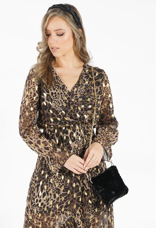 Pamela Scott Black Soft Faux Fur Bag with Chain Strap
