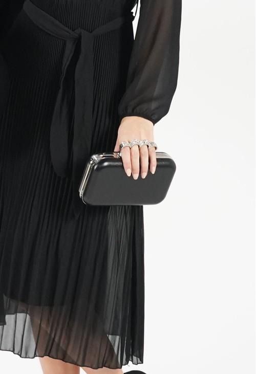 Pamela Scott Black 4 Ring Clutch