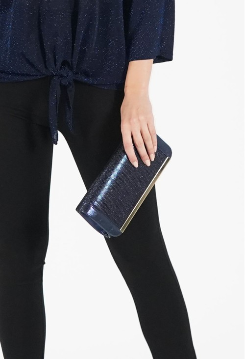 Pamela Scott Metallic Navy Clutch Bag