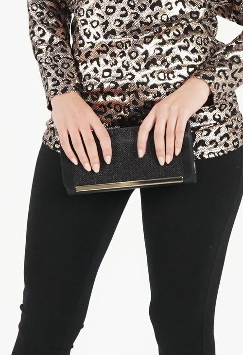 Pamela Scott Metallic Black Clutch Bag