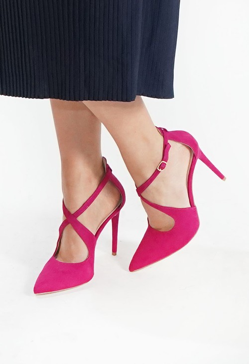 Pamela Scott Fuschia Cross Strap Heels