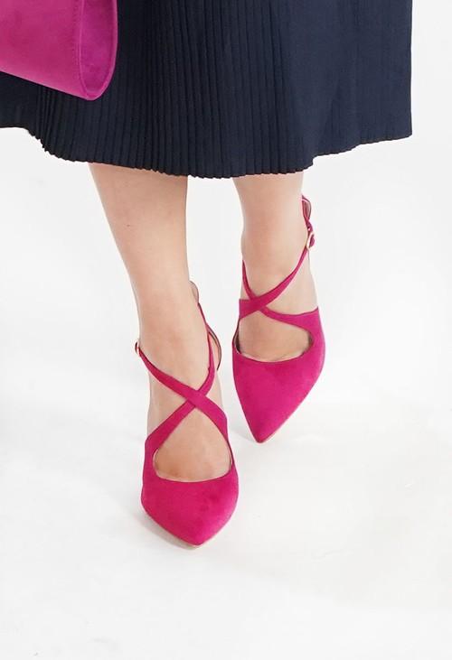 Pamela Scott Fuschia Cross Strap Heels