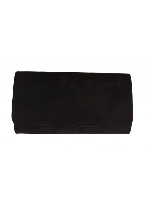 Pamela Scott Black Faux Suede Clutch
