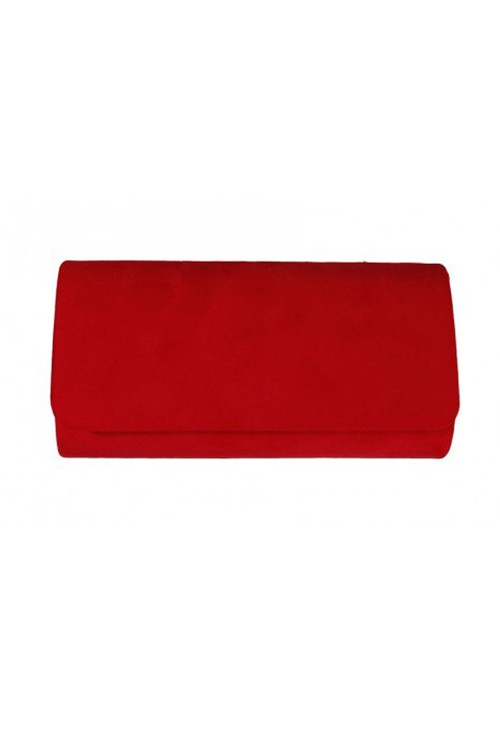 Pamela Scott Red Faux Suede Clutch