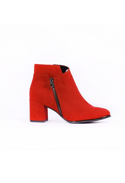 Marco Tozzi Red Microfibre Elegant Ankle Boot