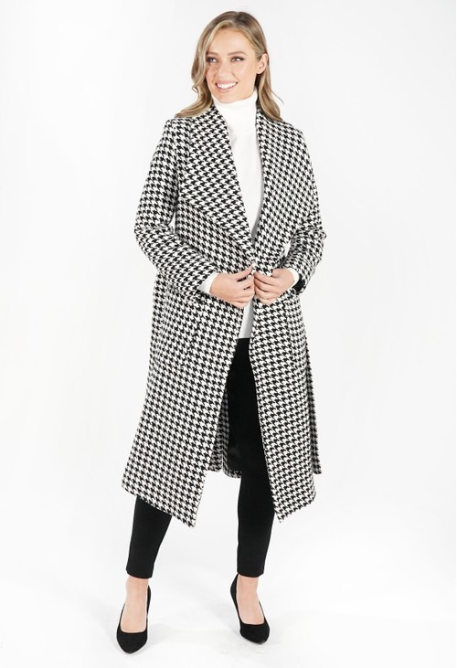 Sophie B Houndstooth Waterfall Front Coat with Tie Waist