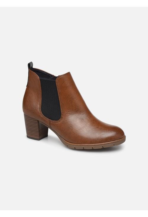 Marco Tozzi Cognac Plain Front Side Gusset Block Heel Boot