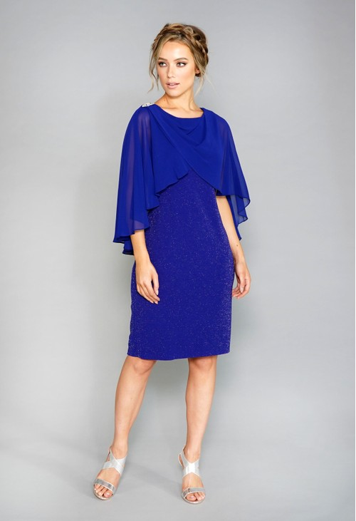 Pamela Scott Glitter Dress with Chiffon Cape
