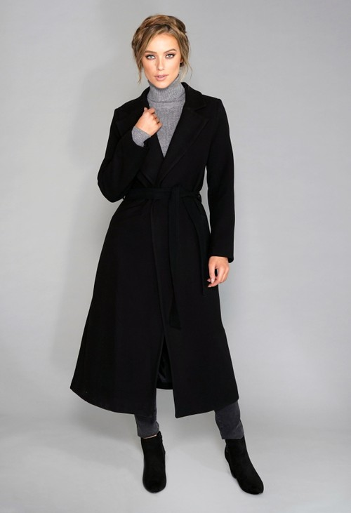 Zapara Black Wool Mix Longline Coat