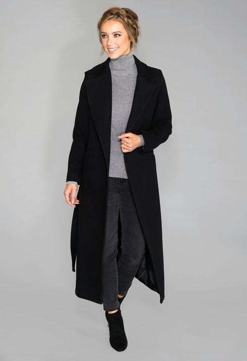 Zapara Black Wool Mix Longline Coat