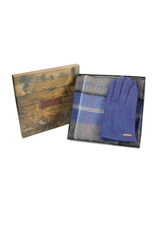 Something Special Mens Blue Check Scarf and Gloves Set