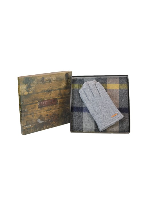 Something Special Mens Grey Check Scarf and Gloves Set