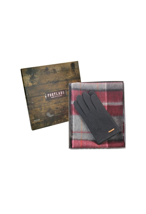 Something Special Mens Burgundy and Black Check Scarf and Gloves Set