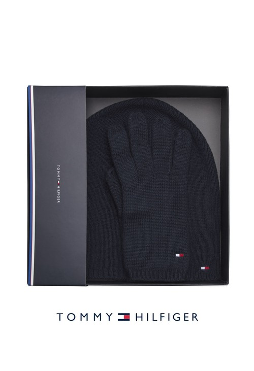 Tommy Hilfiger Knit Beanie and Gloves Set