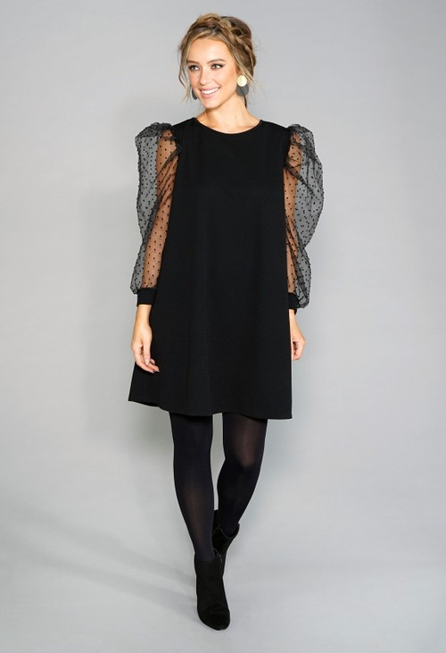 Pamela Scott Black Sheer Sleeve Dress