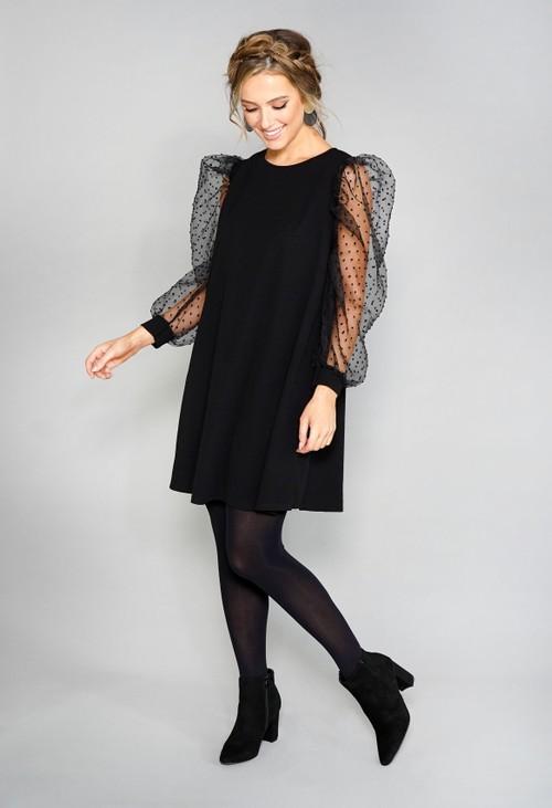 Pamela Scott Black Sheer Sleeve Dress