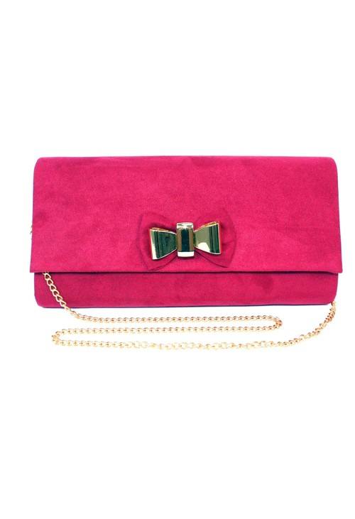 Lunar Faux Suede Clutch with Bow Detail