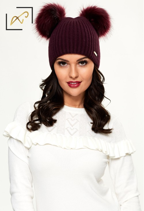 Something Special Luxury Mulberry Double Pom Pom Hat