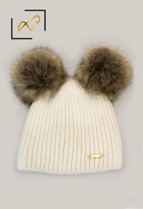 Something Special Luxury Off White Double Pom Pom Hat