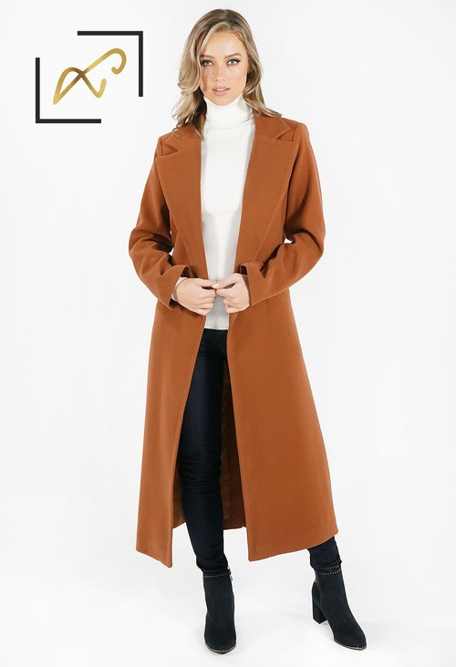 Zapara Cognac Wool Mix Longline Coat with Tie Waist