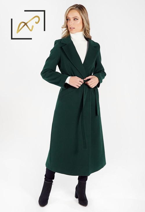 Zapara Green Wool Mix Longline Coat with Tie Waist