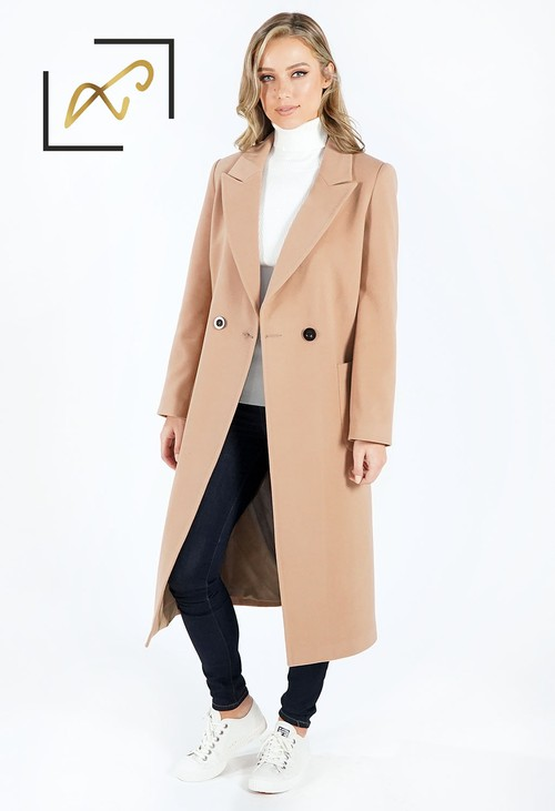 Zapara Camel Wool Mix Longline Coat