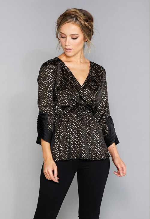 Zapara Black and Gold Pleat Detail Top