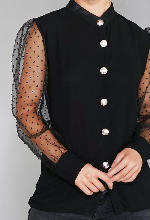 Stella Morgan Sheer Sleeve Button Down Blouse