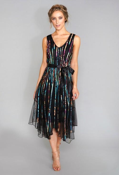 Pamela Scott Black V Neck Tie Waist Dress