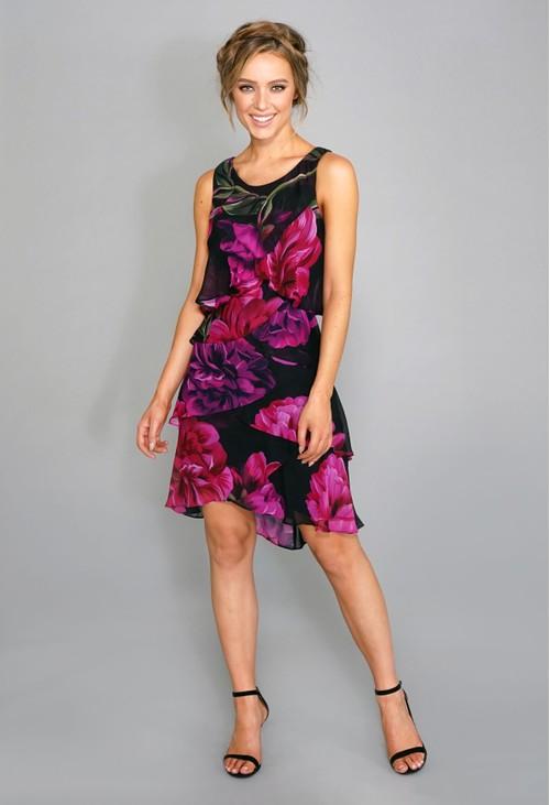 Pamela Scott Tiered Floral Dress